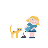 Little girl with a cat. Little girl feeds the cat Royalty Free Stock Image