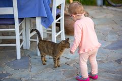 Little girl with a cat. Outdoor Royalty Free Stock Photos