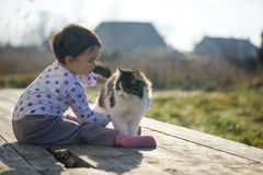 Little Girl and cat play outside near the house. Little Girl and cat play outside Royalty Free Stock Image