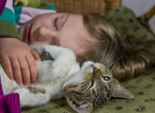 Little girl and cat are relaxing. Little girl and cat are relaxing or sleeping, enjoying to be together Royalty Free Stock Photography