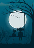 Little girl with cat sitting on tree swing over full moon at night. Back view Stock Photos