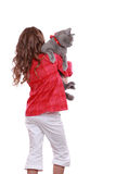 Little girl with cat. Studio image of a cheerful little girl played with a British breed of cat isolated on white/little girl holding british cat Royalty Free Stock Image
