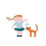 Little girl with a cat. Little girl teases the cat Stock Photography