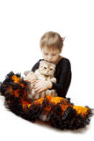 Little girl with a cat on a white background Royalty Free Stock Photography