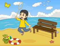 Little girl catch a butterfly on the beach cartoon Royalty Free Stock Images