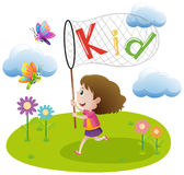 Little girl catching butterfly in garden. Illustration Stock Photos