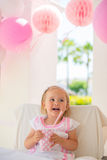 Little Girl Celebrate Happy Birthday Party Stock Images