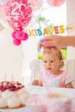 Little Girl Celebrate Happy Birthday Party Stock Image