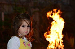 Little girl celebrate Lag Ba'Omer Jewish Holiday Stock Photo