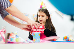 Little girl celebrates birthday Royalty Free Stock Images