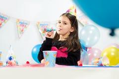 Little girl celebrates birthday Royalty Free Stock Image