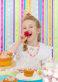 Little girl celebrates her birthday. Royalty Free Stock Photos
