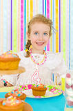 Little girl celebrates her birthday. Royalty Free Stock Images