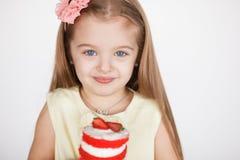 Little girl celebrating her birthday. Royalty Free Stock Photos