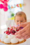 Little Girl Celebrating Her Birthday Royalty Free Stock Image