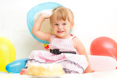 Little girl celebrating second birthday Royalty Free Stock Photography