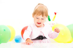 Little girl celebrating second birthday Stock Image
