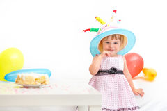 Little girl celebrating second birthday Royalty Free Stock Images