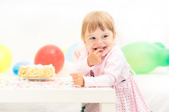Little girl celebrating second birthday Royalty Free Stock Photo