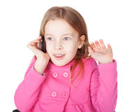 Little girl with cell phone Stock Image