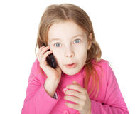 Little girl with cell phone Stock Photography