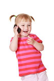 Little girl with cellphone Stock Photos