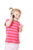 Little girl with cellphone Royalty Free Stock Photo