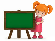 Little Girl and Chalkboard Stock Image