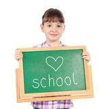 Little girl with chalkboard Stock Photography