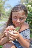 Little girl with Chameleon Stock Photos