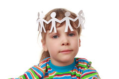 Little girl and chaplet from garland Stock Image