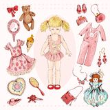 Little girl character accessories set. Little girl paper doll album project accessories set print with child character dress pajama sketch vector illustration Stock Photos