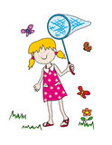Little girl chasing butterflies. Large childlike cartoon character: little girl with a big smile holding a butterfly net and having fun tryong to catch them Royalty Free Stock Photo