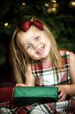 Little girl in a checkered dress Stock Photo