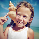 Little Girl Cheerful Summer Beach Happiness Vacation Concept Stock Photo