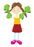 Little_girl_in_chequered_skirt. Little girl in chequered skirt and green bows Stock Illustration