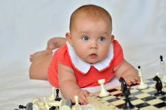 Little girl with chess on a white background. Baby girl in a dress royalty free stock photography