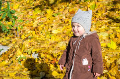 Little girl child baby in a coat and hat game makes its first steps in autumn park among fallen yellow maple leaves Royalty Free Stock Image