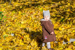 Little girl child baby in a coat and hat game makes its first steps in autumn park among fallen yellow maple leaves Royalty Free Stock Photography