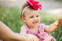 Little girl child with big paint eyes in a dress Royalty Free Stock Photography