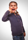 Little girl child have toothache, emotions large Royalty Free Stock Photos