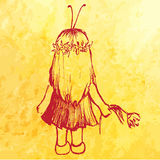 Little girl child in insect costume with flower sketch vector Royalty Free Stock Photography