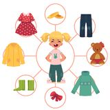 Little girl, child, kid and her wardrobe, clothes Royalty Free Stock Images