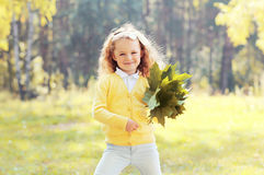 Little girl child with maple leafs having fun in autumn Stock Photos