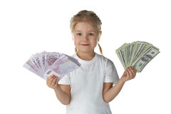 Little girl child with money Royalty Free Stock Images