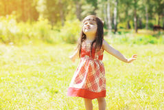 Little girl child outdoors enjoying warm sunny summer Royalty Free Stock Images