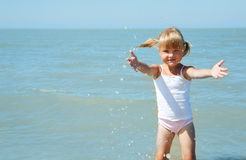 Little girl child on the sea Royalty Free Stock Images