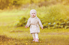 Little girl child walking in autumn Royalty Free Stock Photos