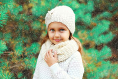 Little girl child wearing knitted hat and sweater with scarf over christmas tree Stock Photography