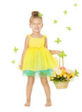 Little Girl in Children Dress with Basket, Happy Smiling Kid Royalty Free Stock Image